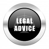 legal advice black circle glossy chrome icon isolated