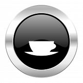 espresso black circle glossy chrome icon isolated