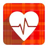 pulse red flat icon isolated