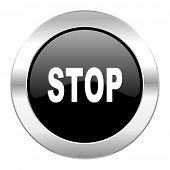 stop black circle glossy chrome icon isolated