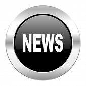 news black circle glossy chrome icon isolated
