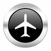 plane black circle glossy chrome icon isolated