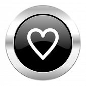 heart black circle glossy chrome icon isolated
