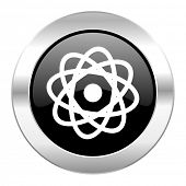 atom black circle glossy chrome icon isolated