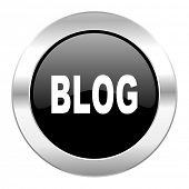 blog black circle glossy chrome icon isolated