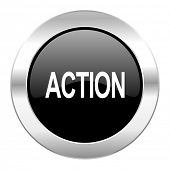 action black circle glossy chrome icon isolated