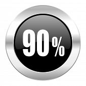 90 percent black circle glossy chrome icon isolated