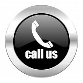call us black circle glossy chrome icon isolated