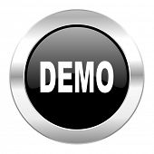 demo black circle glossy chrome icon isolated