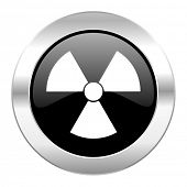 radiation black circle glossy chrome icon isolated