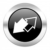 exchange black circle glossy chrome icon isolated