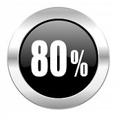 80 percent black circle glossy chrome icon isolated
