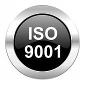 iso 9001 black circle glossy chrome icon isolated