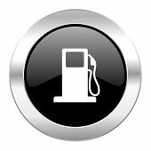 petrol black circle glossy chrome icon isolated