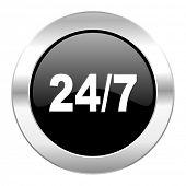 24/7 black circle glossy chrome icon isolated