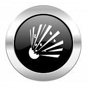 bomb black circle glossy chrome icon isolated