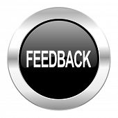 feedback black circle glossy chrome icon isolated