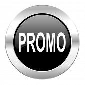 promo black circle glossy chrome icon isolated