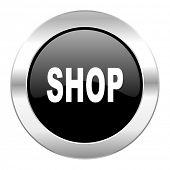 shop black circle glossy chrome icon isolated