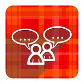forum red flat icon isolated