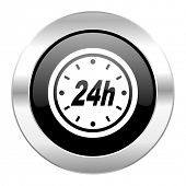 24h black circle glossy chrome icon isolated
