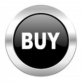 buy black circle glossy chrome icon isolated