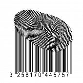 identity concept illustration, human fingerprint with product bar code