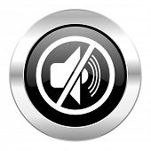 mute black circle glossy chrome icon isolated