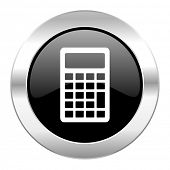 calculator black circle glossy chrome icon isolated