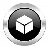 box black circle glossy chrome icon isolated
