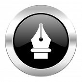 pen black circle glossy chrome icon isolated