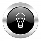 bulb black circle glossy chrome icon isolated