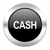 cash black circle glossy chrome icon isolated