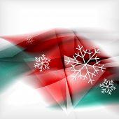 Red color Christmas blurred waves and snowflakes abstract background
