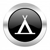 camp black circle glossy chrome icon isolated