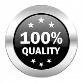 quality black circle glossy chrome icon isolated
