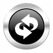 rotation black circle glossy chrome icon isolated