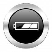 battery black circle glossy chrome icon isolated