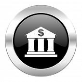 bank black circle glossy chrome icon isolated