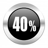 40 percent black circle glossy chrome icon isolated