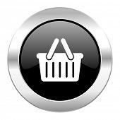 cart black circle glossy chrome icon isolated