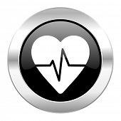 pulse black circle glossy chrome icon isolated