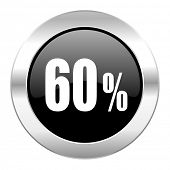 60 percent black circle glossy chrome icon isolated