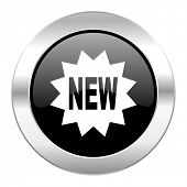 new black circle glossy chrome icon isolated