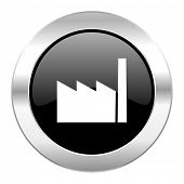 factory black circle glossy chrome icon isolated