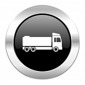 truck black circle glossy chrome icon isolated