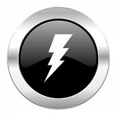 bolt black circle glossy chrome icon isolated