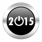 new year 2015 black circle glossy chrome icon isolated