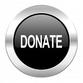 donate black circle glossy chrome icon isolated