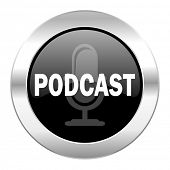 podcast black circle glossy chrome icon isolated